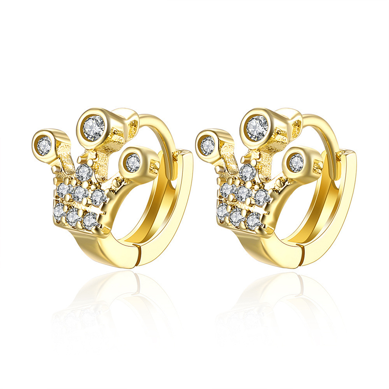 Gold Plated Crown Earrings Real Clip Jewelry Zircon Crystal Earrings AKE136