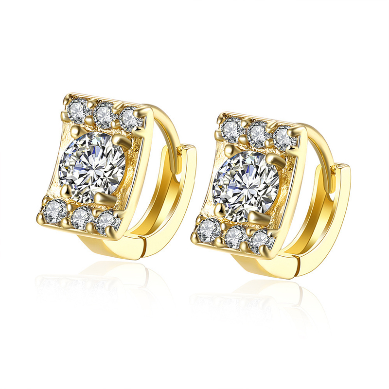 Zirconia Gold Earings 2016 Hot Sale Real 18k Gold Plated Clip Earrings for Women AKE135