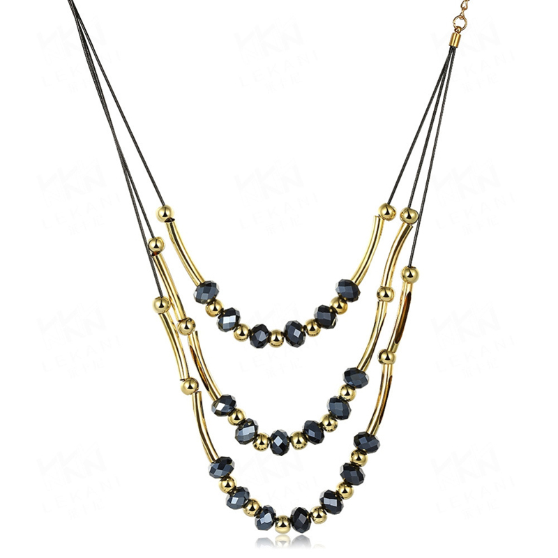 Black Crystal Long Necklace Punk Rock Vintage Multilayer Stone Beads Long Tassel Necklace For Women FSN074