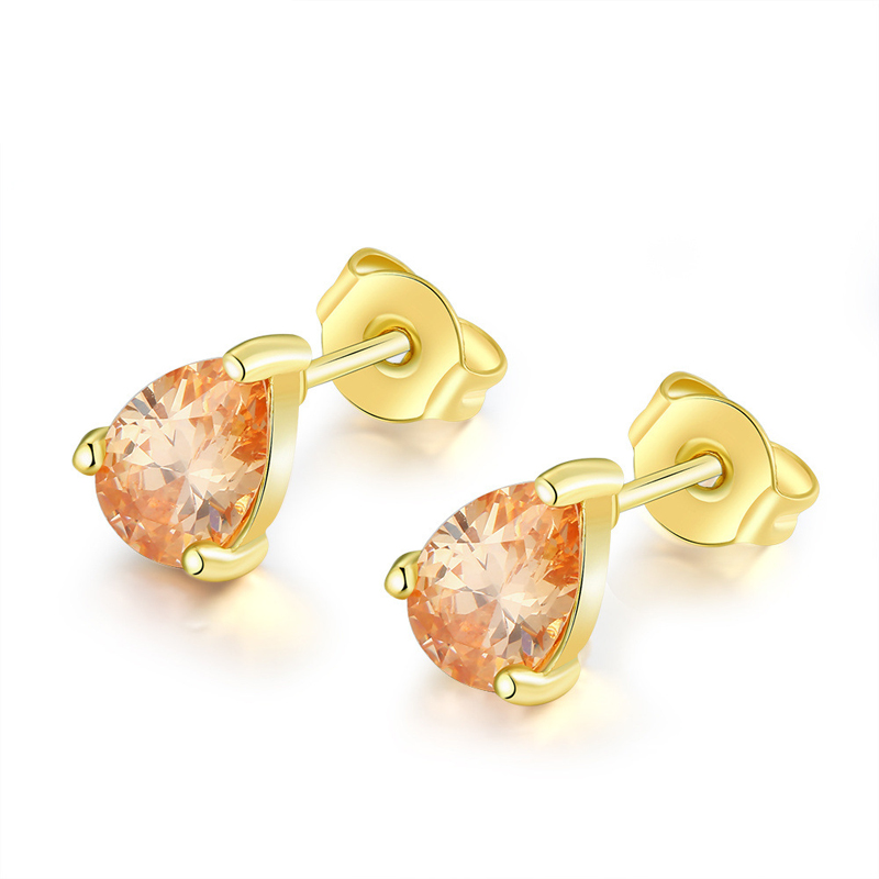 Gold Plated Champagne CZ Cubic Zirconia Crystal Stud Earrings for Women AAA+ Crystal Gold Earrings AKE005