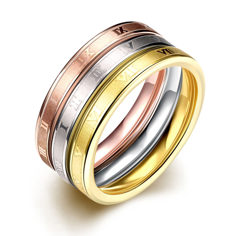 Vintage Three Ring Jewelry 316L Stainless Steel Tricolor Rings For Women R025