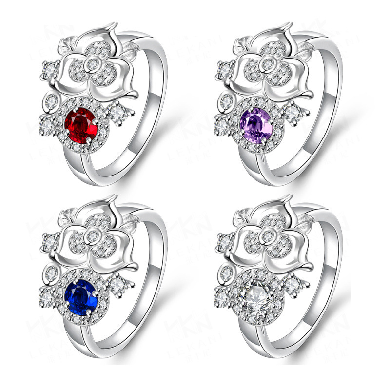 New Elegant AAA+ Cubic Zirconia Brass Silver Plated Flower with Blue/Purple/Red/White Stone Ring Jewelry