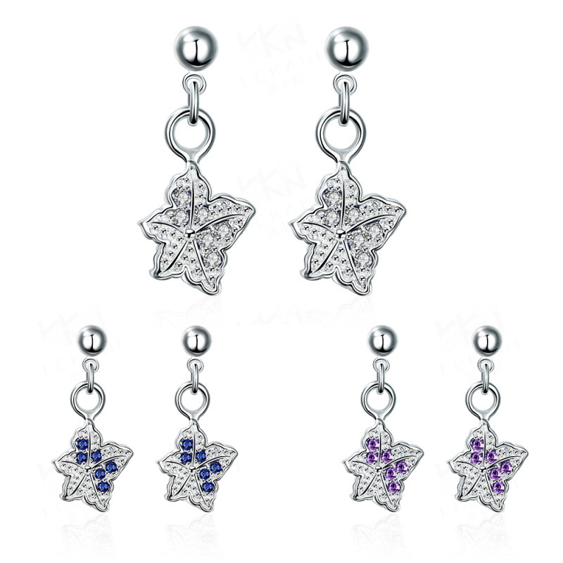Leaf Earrings Trendy Silver Plated Plant Design Inlaid Blue/Purple/White CZ Diamond Drop Earring for Women Party Wedding Jewelry