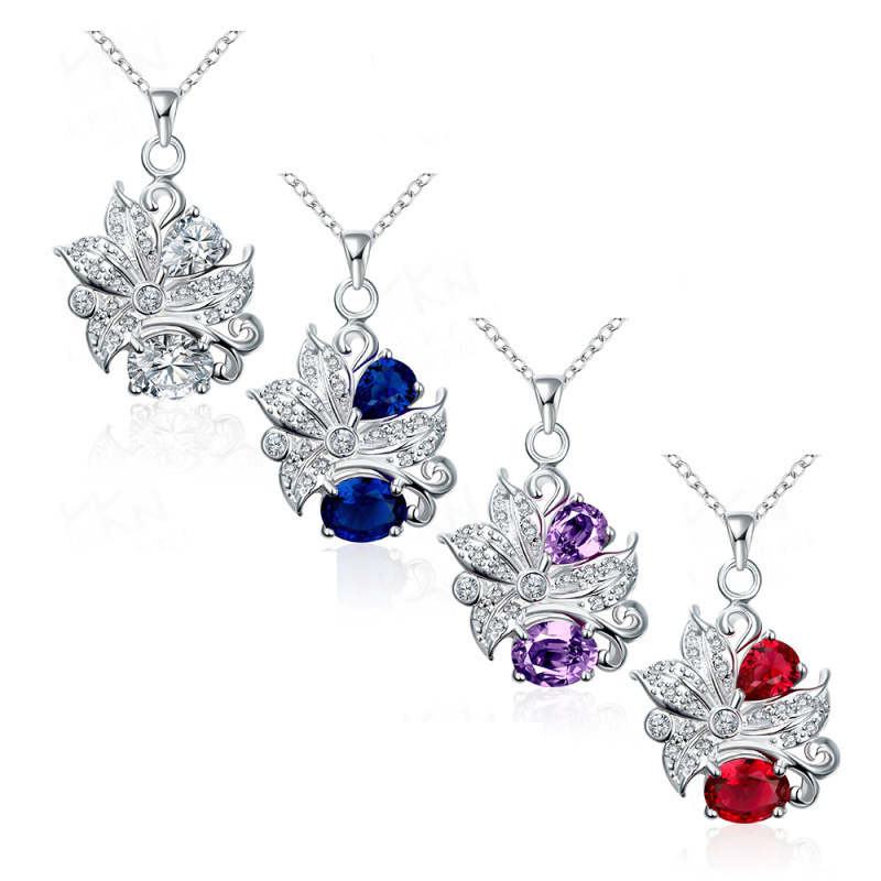 New Design Silver Plated Necklace for Women with AAA+ 4 Colors Cubic Zirconia Flower Pendant Necklace
