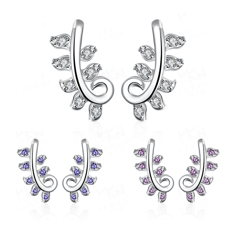Gauged Earrings for Women Trendy Silver Plated Plant Shaped Inlaid Blue/Purple/White Crystal Stud Earring Fashion Jewellery