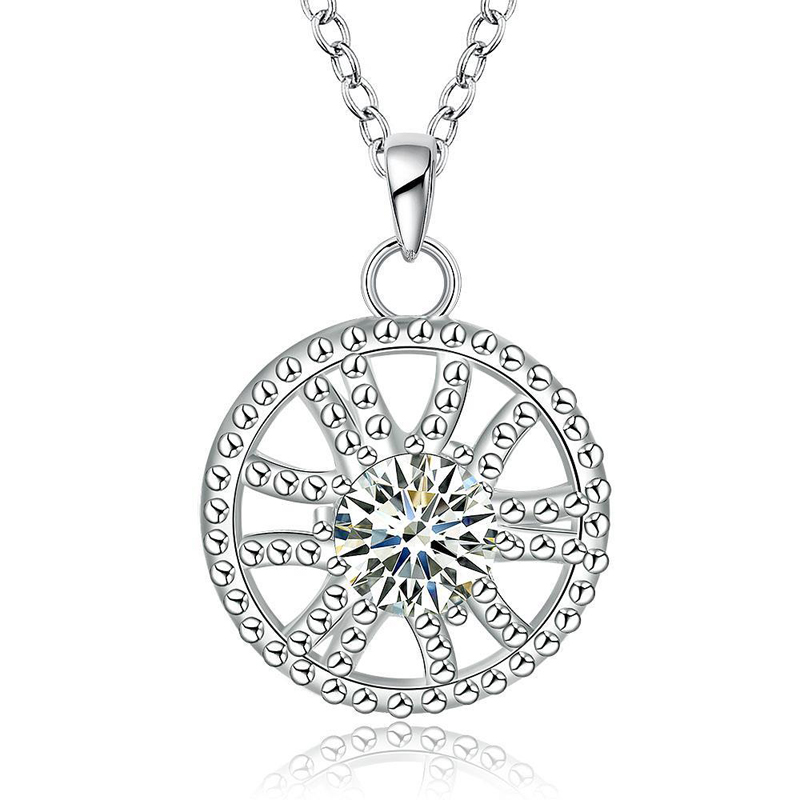 Round Wheel Shaped Silver Plated Girls Chain Necklace Pendant