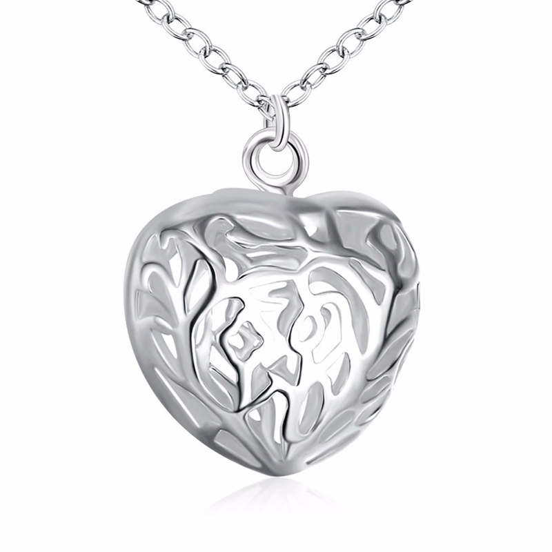 Girls Silver Plated Fashion Jewelry Heart Charms Flower Pattern Pendants