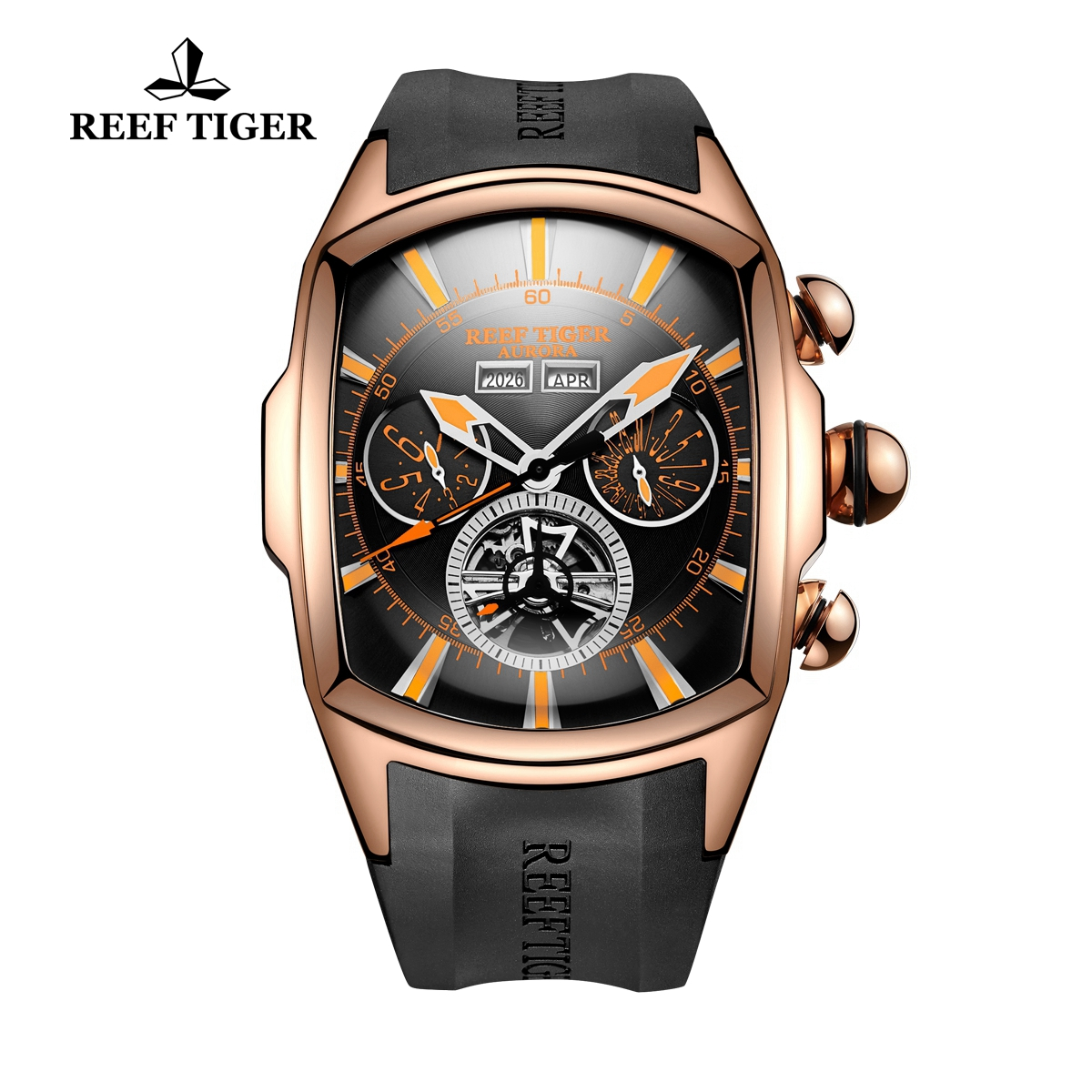 Reef Tiger Automatic Rose Gold Sport Watches Black Dial Case Rubber Strap Watches RGA3069-PBBO