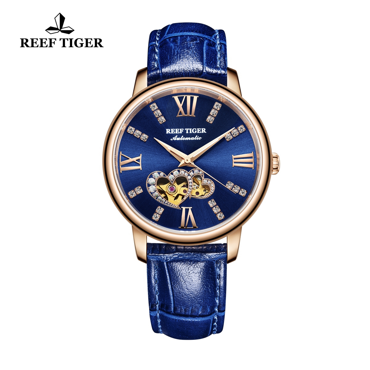 Reef Tiger Fashion Lady Watch Blue Dial Automatic Rose Gold Watch RGA1580-PLL