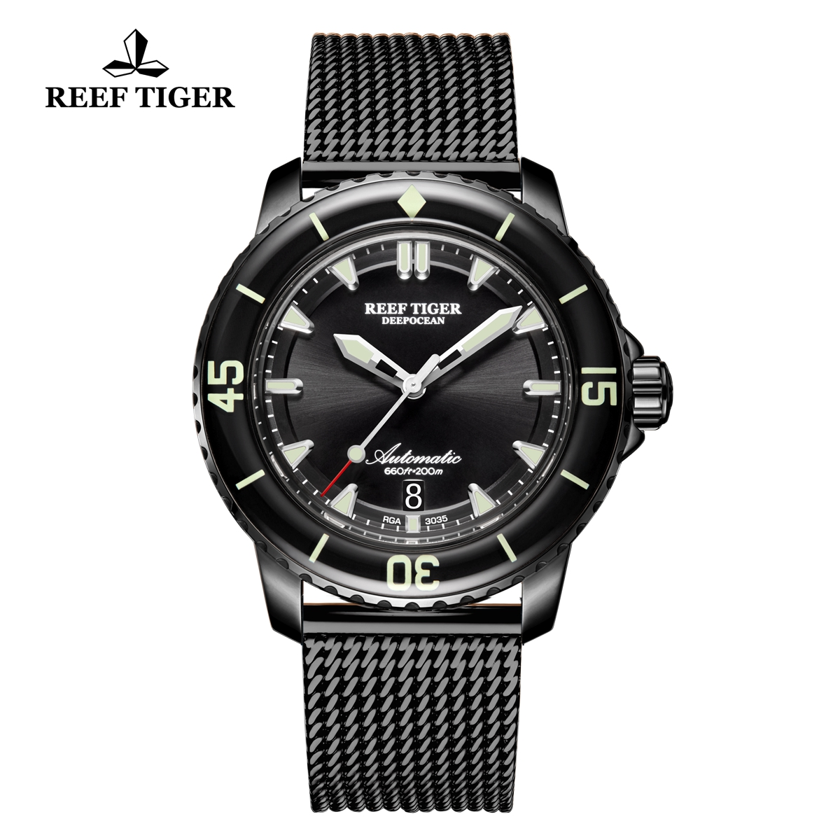 Reef Tiger Deep Ocean Casual Watches Automatic Watch PVD Case Black Dial RGA3035-BBBS