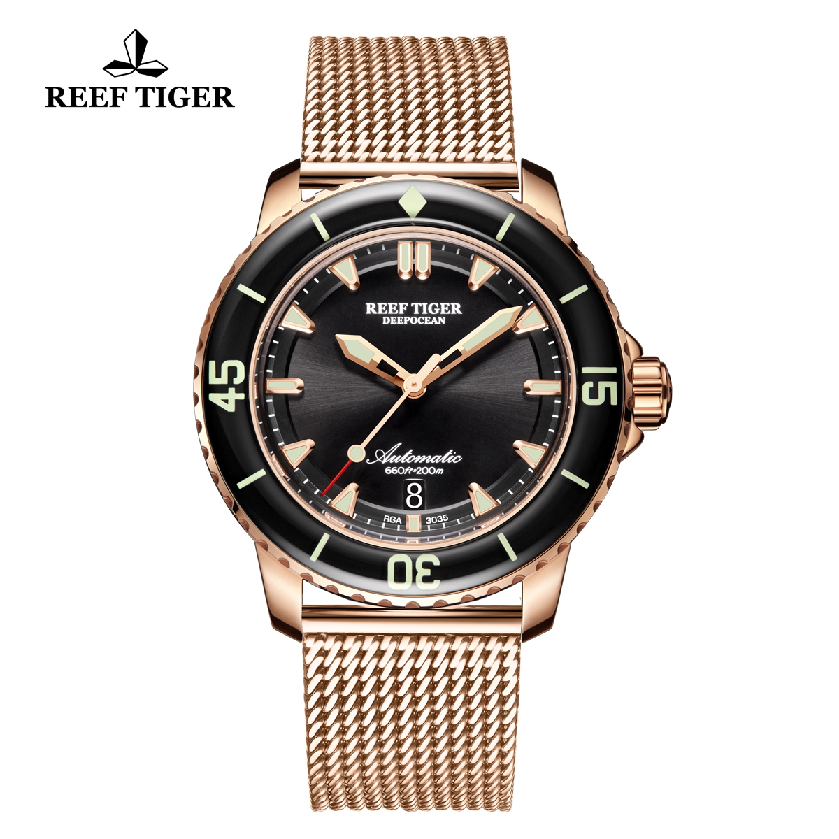 Reef Tiger Deep Ocean Casual Watches Automatic Watch Rose Gold Case Black Dial RGA3035-PBP