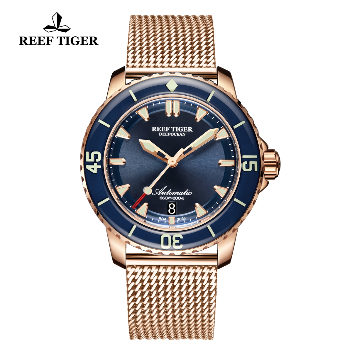 Reef Tiger Deep Ocean Casual Watches Automatic Watch Rose Gold Case Blue Dial RGA3035-PLP