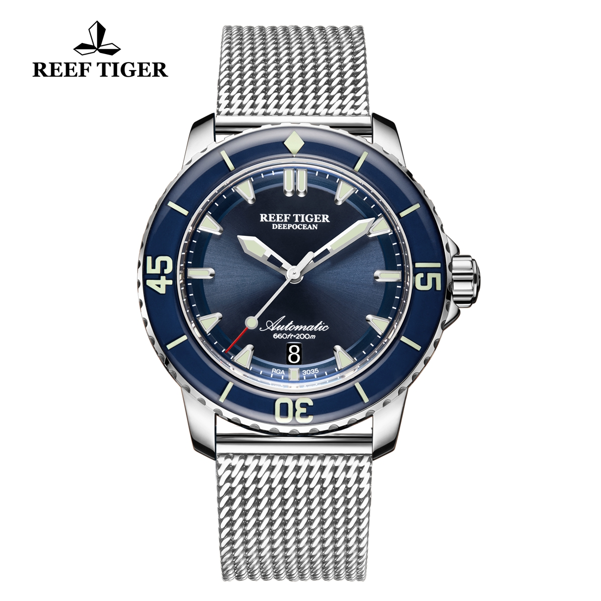 Reef Tiger Deep Ocean Men's Casual Steel Watches Blue Dial Automatic Watch RGA3035-YLY
