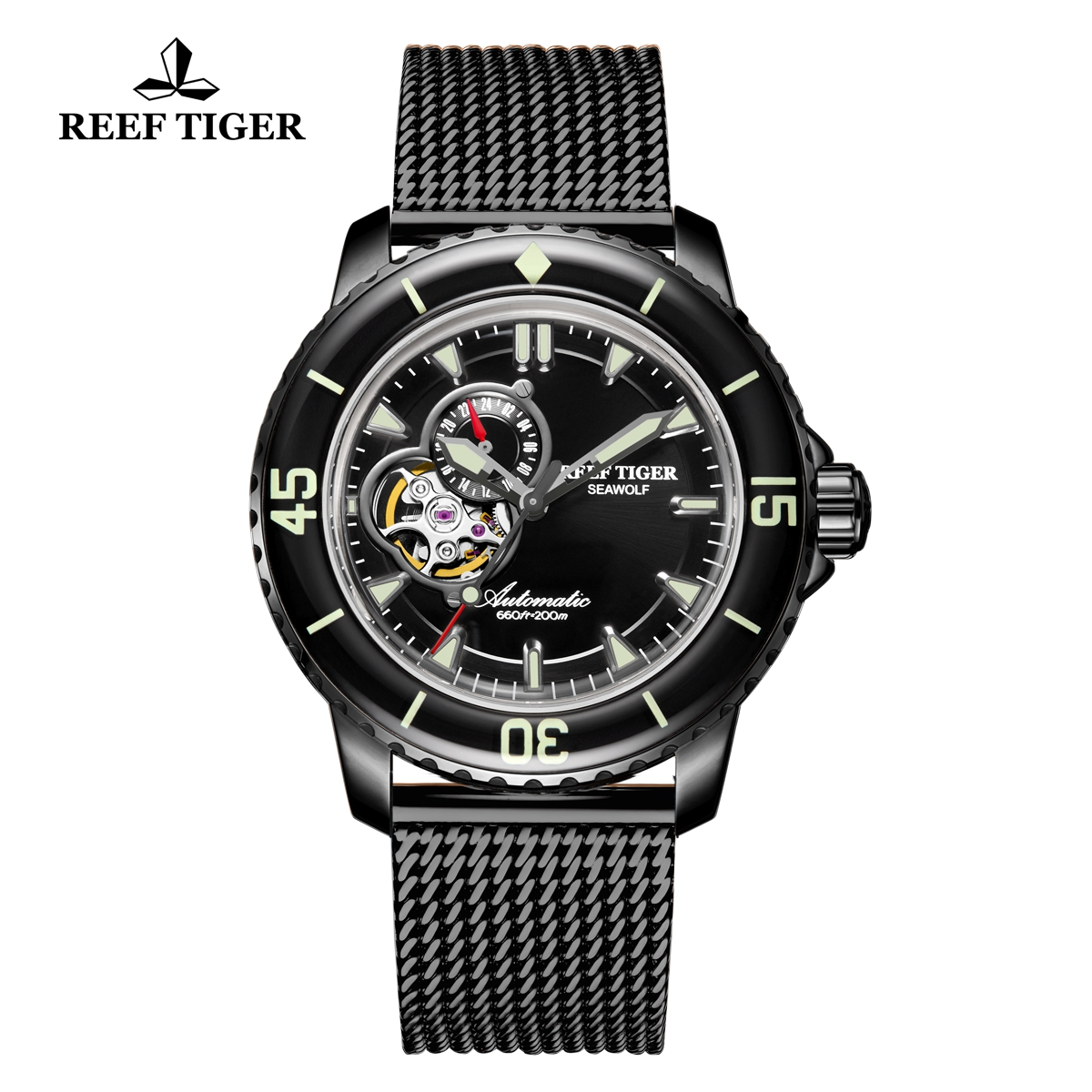 Reef Tiger Sea Wolf Dress Automatic PVD Black Dial Black RGA3039-BBBS