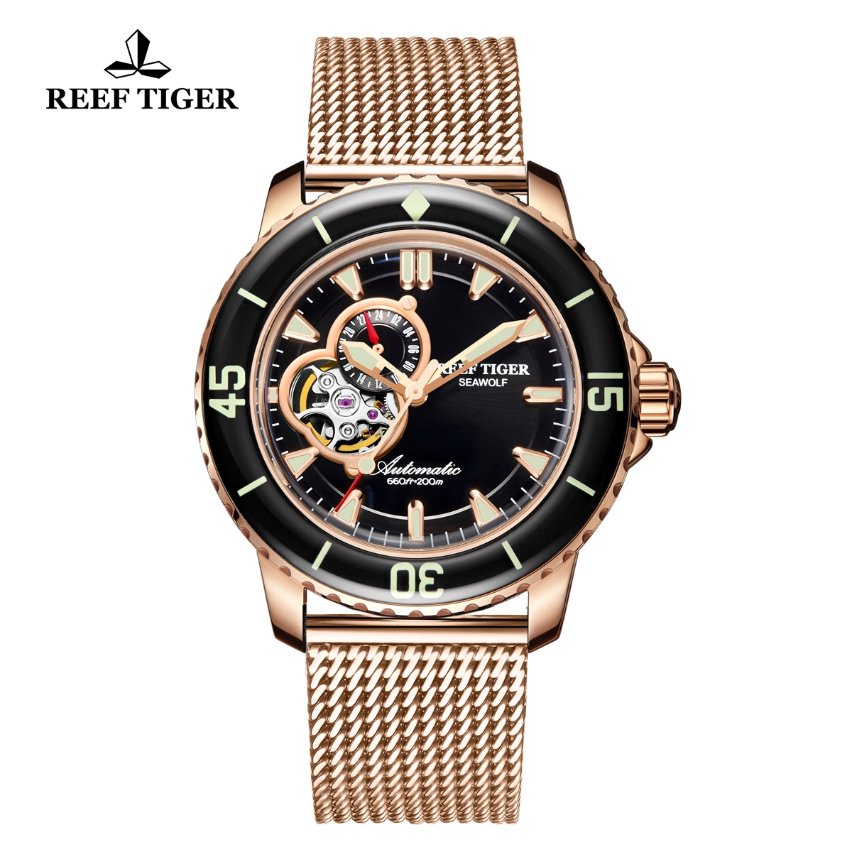 Reef Tiger Sea Wolf Dress Automatic Watch Rose Gold Black Dial RGA3039-PBP