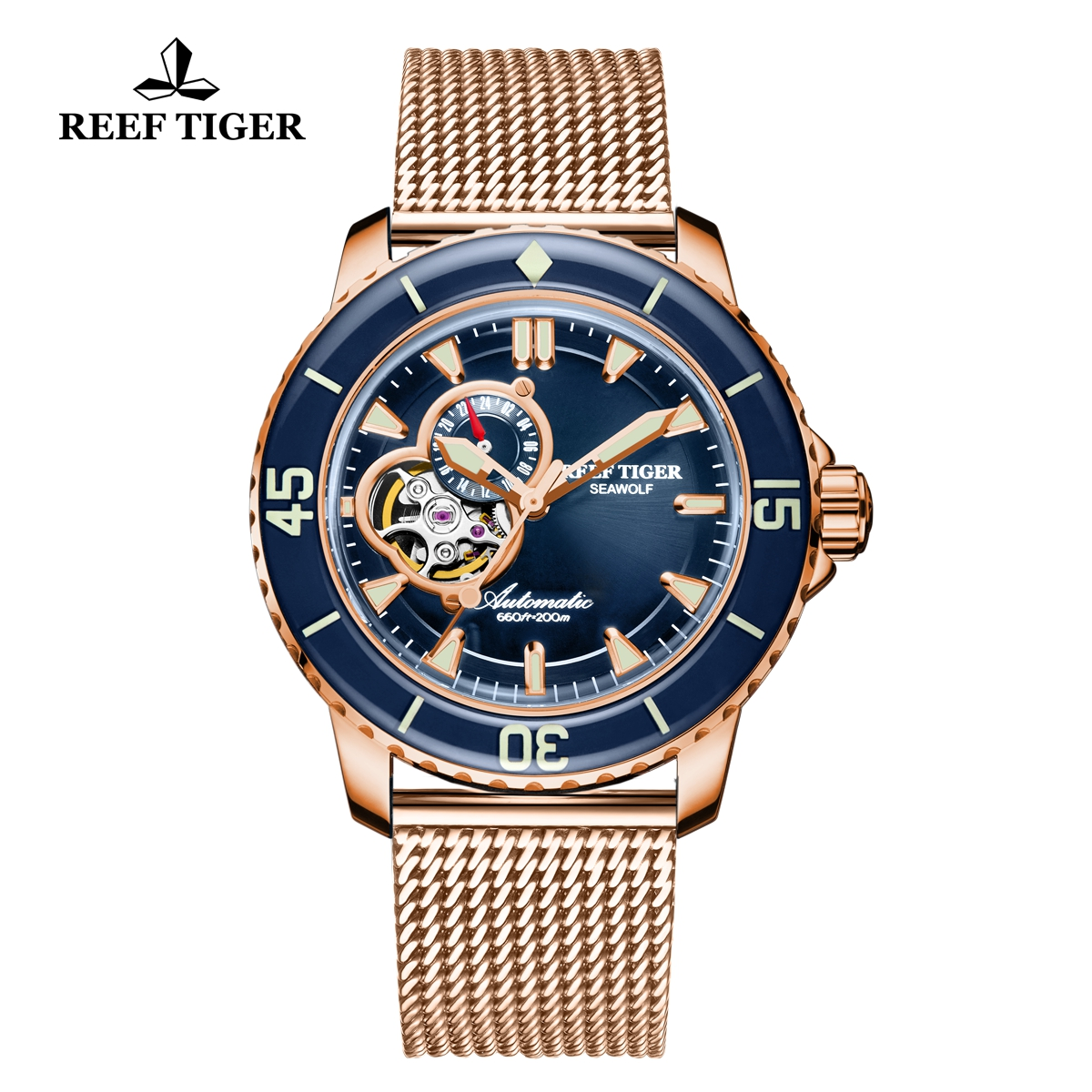 Reef Tiger Sea Wolf Dress Automatic Watch Rose Gold Blue Dial Black RGA3039-PLP
