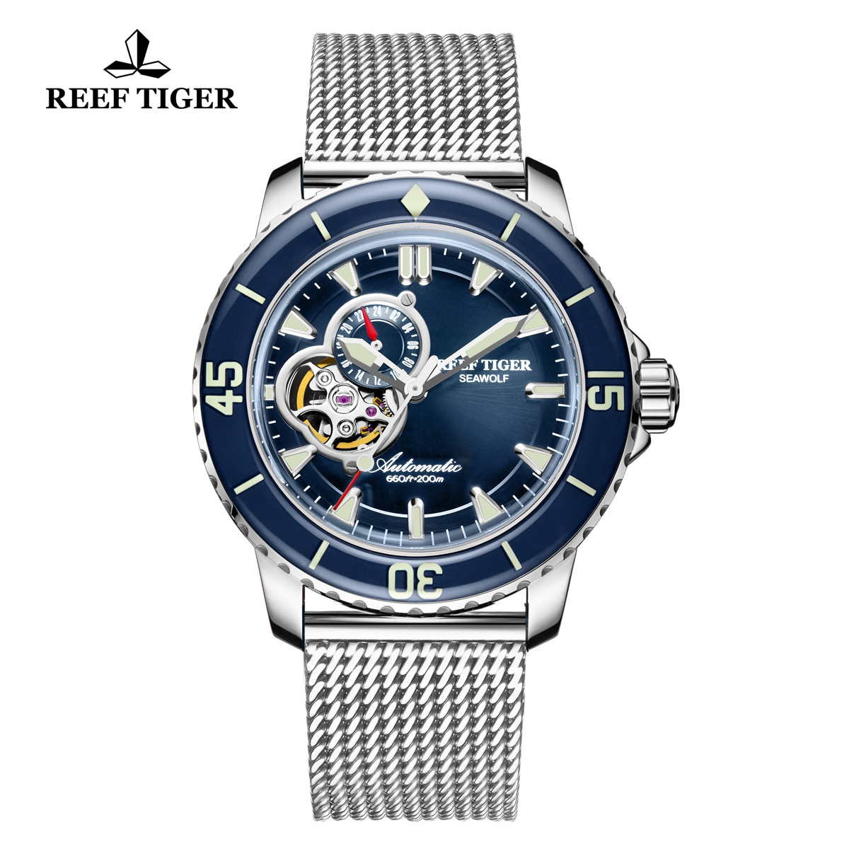Reef Tiger Sea Wolf Dress Automatic Watch Steel Blue Dial RGA3039-YLY