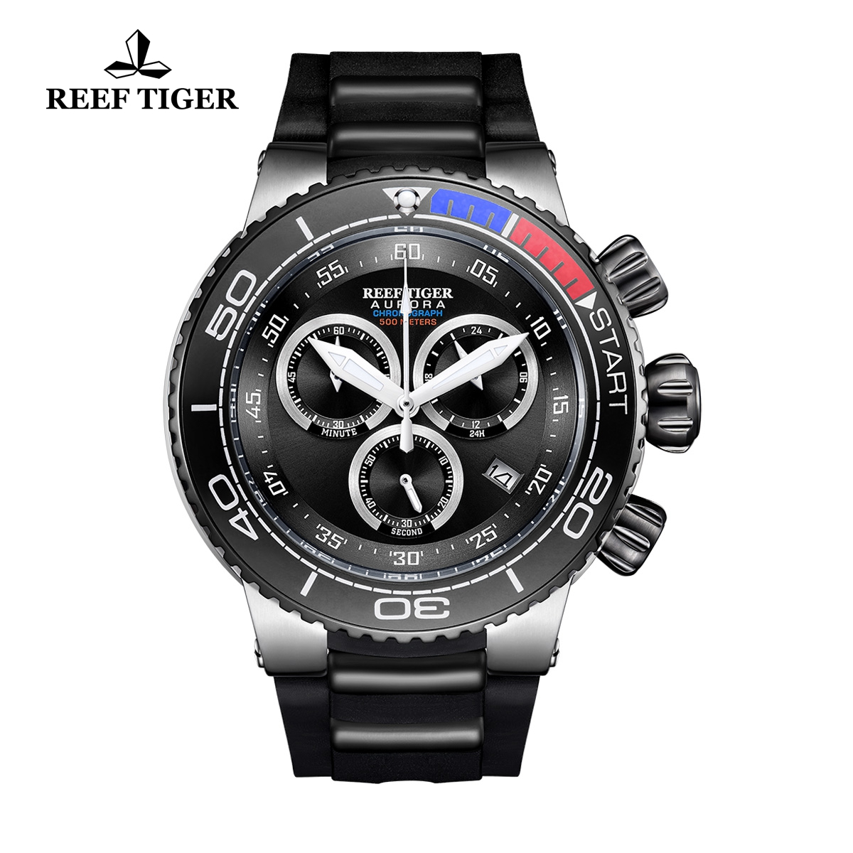 Reef Tiger Aurora Grand Ocean Steel Fashion Watch Rubber Strap Black Dial Chronograph Quartz Watch RGA3168-YBB