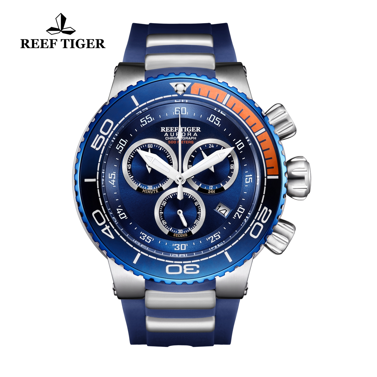 Reef Tiger Aurora Grand Ocean Fashion Watch Rubber Strap Blue Dial Chronograph Quartz Watch RGA3168-YLL