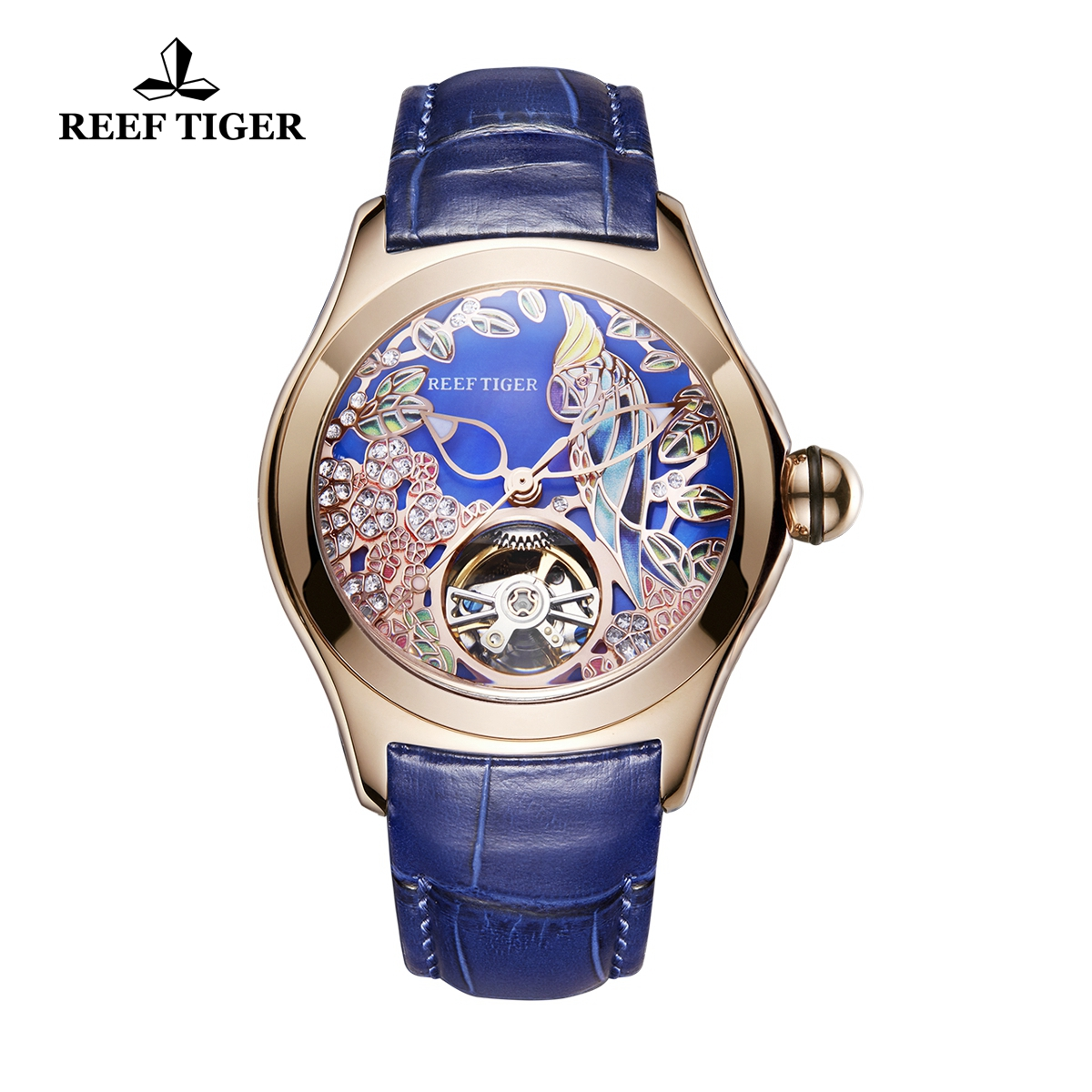 Reef Tiger Aurora Parrot Casual Watches Automatic Watch Rose Gold Case Leather Strap RGA7105-PLL