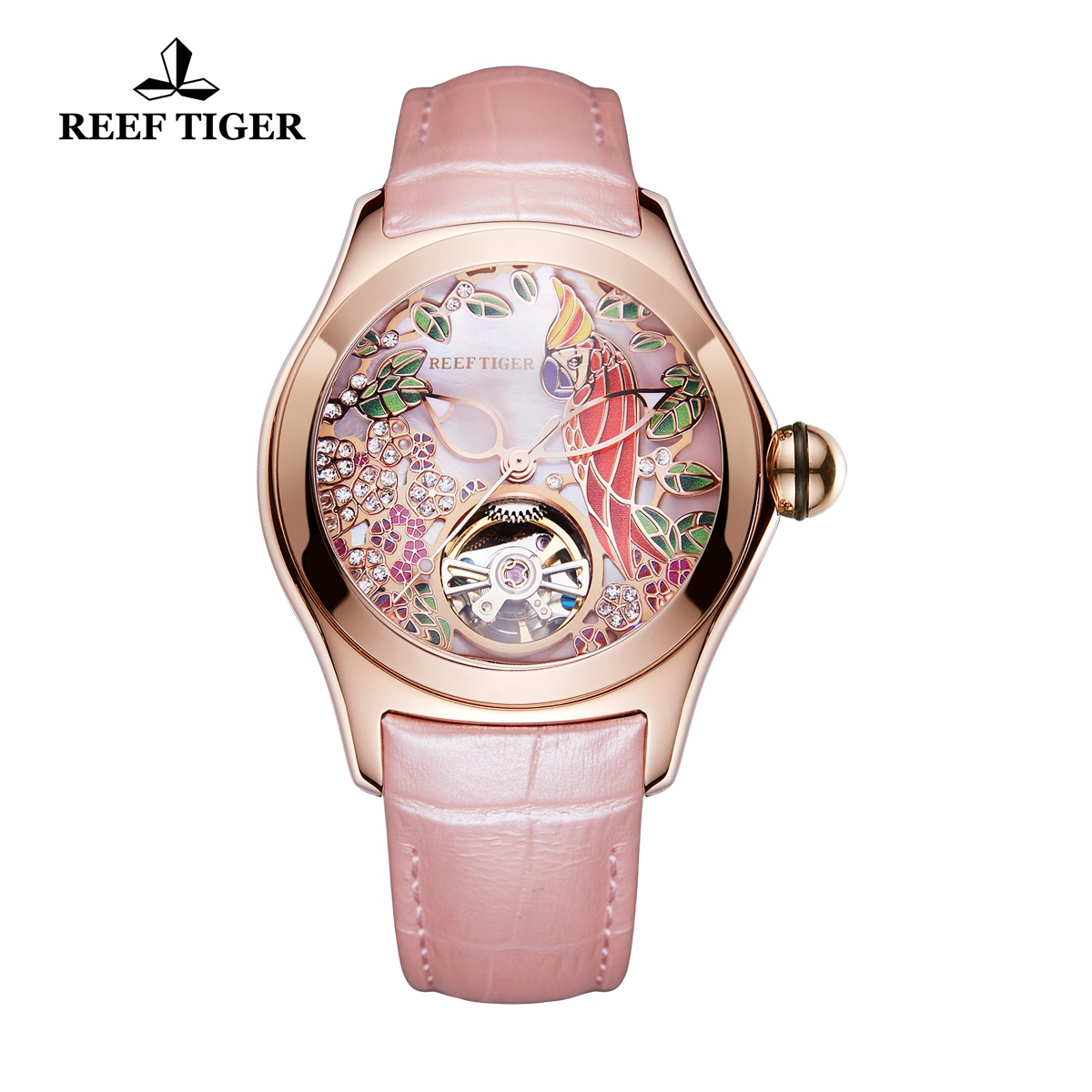 Reef Tiger Aurora Parrot Casual Watches Women Automatic Watch Rose Gold Case Leather Strap RGA7105-PPP