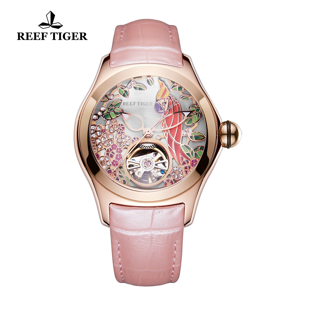 Reef Tiger Aurora Parrot Casual Watches Rose Gold Case Automatic Watch Leather Strap RGA7105-PSP