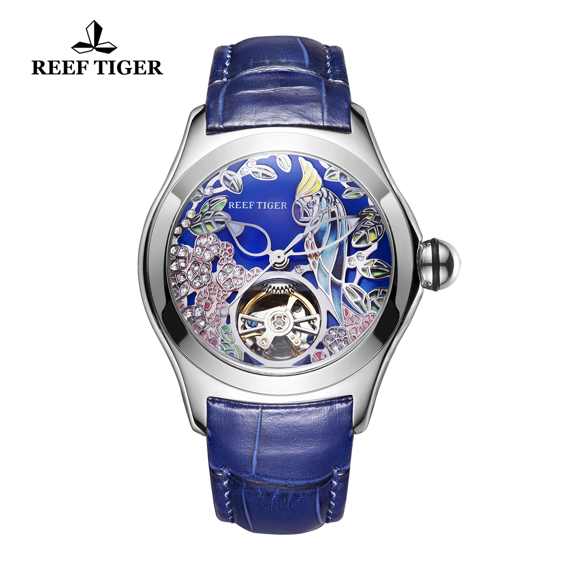 Reef Tiger Aurora Parrot Casual Watches Automatic Watch Steel Case Leather Strap RGA7105-YLL