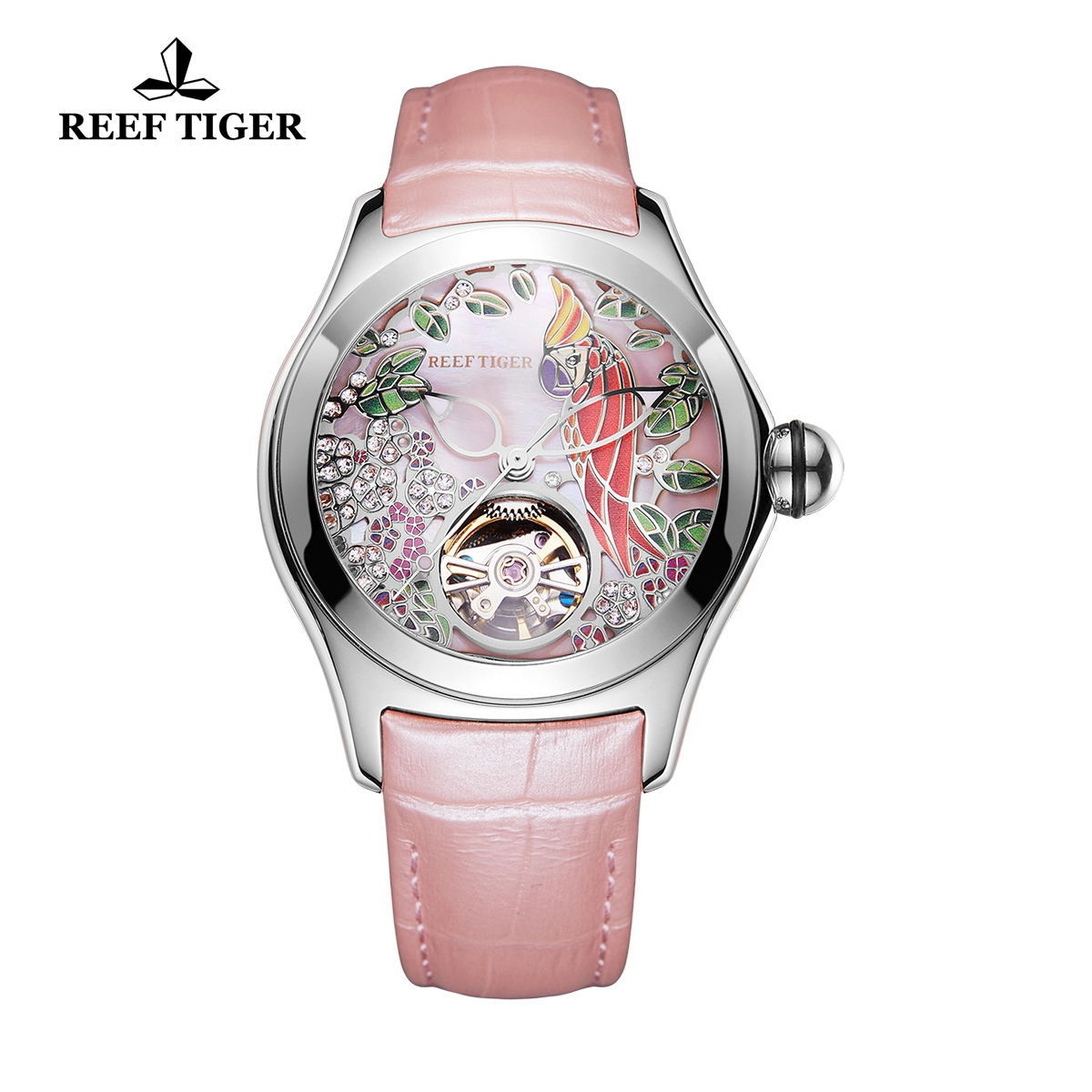 Reef Tiger Aurora Parrot Casual Watches Steel Case Automatic Watch Leather Strap RGA7105-YPP