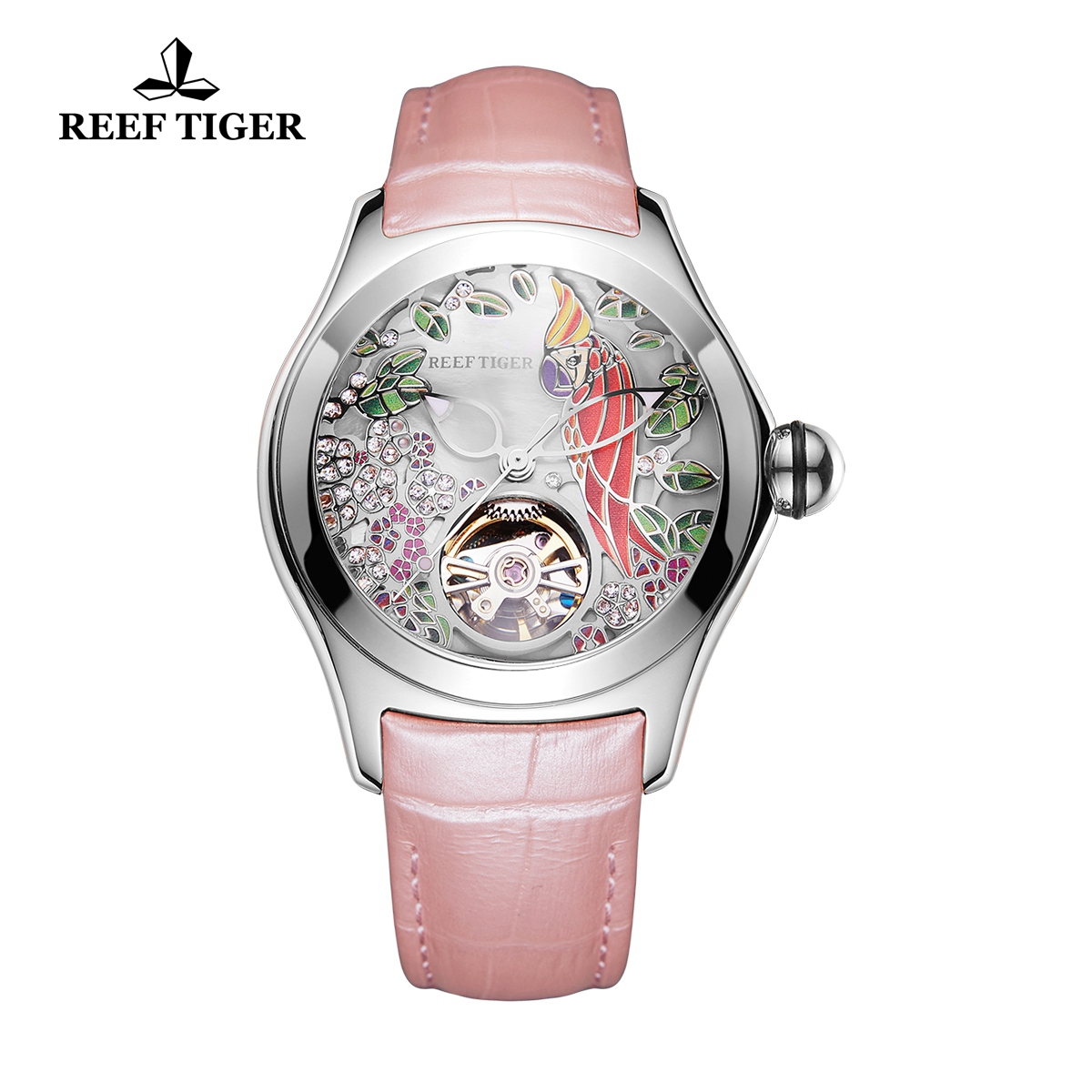 Reef Tiger Aurora Parrot Casual Watches Women Automatic Watch Steel Case Leather Strap RGA7105-YSP