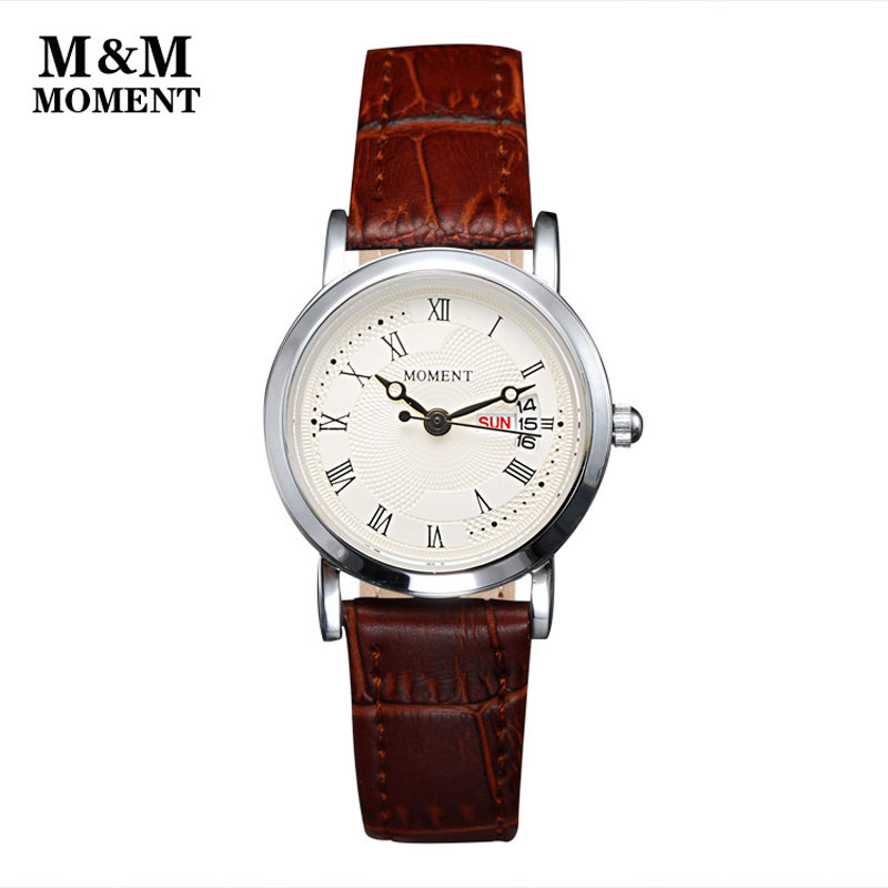 Casual Couple Watch With White Dial Roman Numbers Quartz Leather Strap Watch 67964