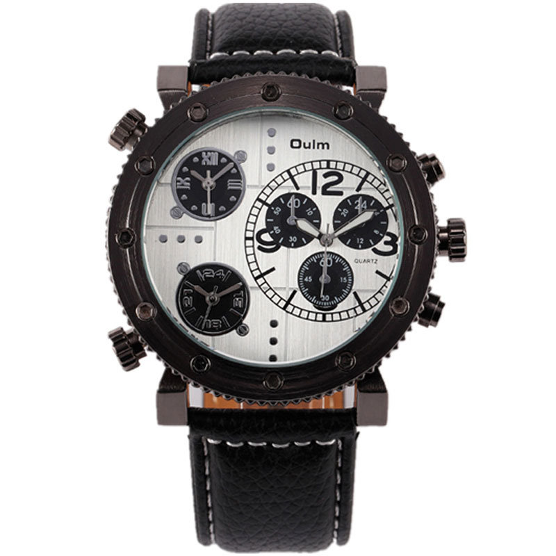 OULM Multifunction 3 Time Zone Leather Strap Quartz Men Watch 3421